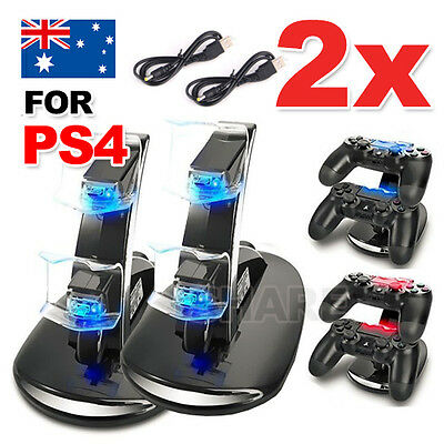 2xDual Charger Dock Charging Stand cable USB for Sony PS4 playstation Controller