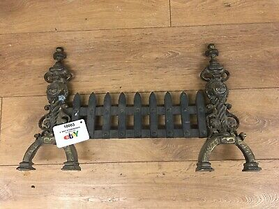 J DAY Original Period Ornate Brass & Iron Solid Fuel Fire Front Fret Cast Iron