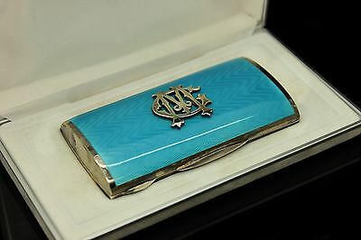 Antique Original Perfect European Silver Enamel  Strong Silver Cigarette Case