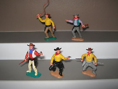 Timpo cowboy set 2nd series set of 5 in 5 poses V/ good condition late 60's