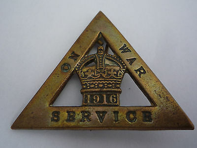 Ww1 Genuine On War Service 1916 Badge - By Ja Wylie & Co Numbered Reverse