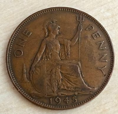 "1945 End of WWII George VI Penny - counter stamped ""TESTED"". For what?! (A114)"