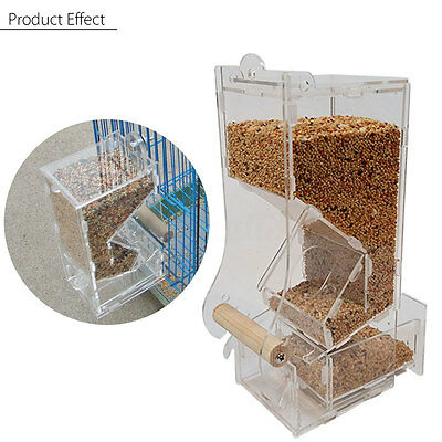 Clear Acrylic Bird Seed Nut Automatic Food Feeder Pet Parrot Cage Bowl Toys
