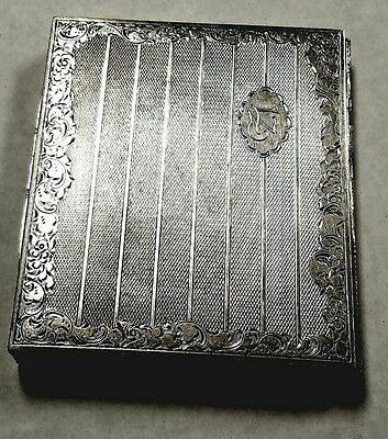 Beautiful Antique .900 Coin Silver Makeup Compact with 4 Compartments 10 ounces