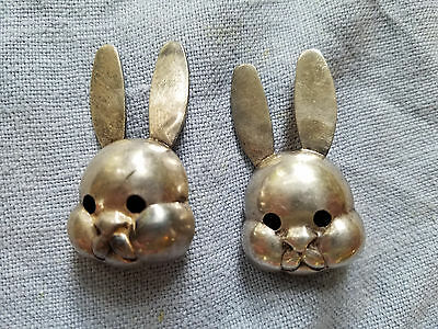 two vintage JWR Sterling Silver rabbits clips earrings