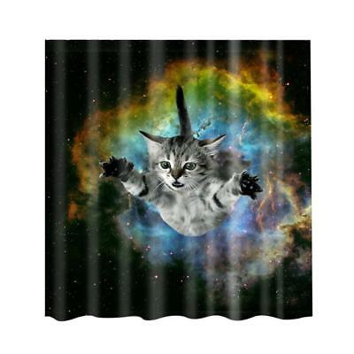 Shower Curtain Bathroom Water Resistant Polyester Fabric Drapes Cat & Sky
