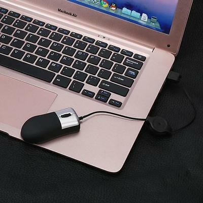 Portable Mini Retractable USB Optical Scroll Wired Mouse For Laptop Notebook PC