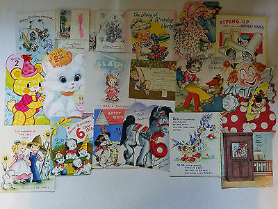 66 vintage birthday cards 1940's-1960's Look at all three photos!...new & used