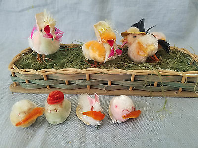 Vintage Chenille Easter chicks with metal feet and hats and rabbits