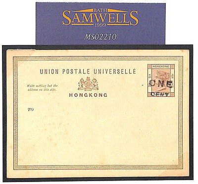 MS2210* HONG KONG Postal Stationery *ONE CENT* Surcharge QV Card Unused