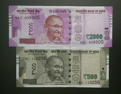UNC 2016 INDIA 2000 & 500 RUPEES GANDHI URIJIT PATEL CURRENCY MONEY NOTE New