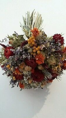 Stunning Large Bridal Wedding Bouquet. Natural Wild Autumnal Dried Flowers Posy