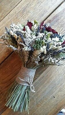 Beautiful Red Rose Bouquet, Wedding or Gift, Dried Flowers Roses, Wheat, Rustic