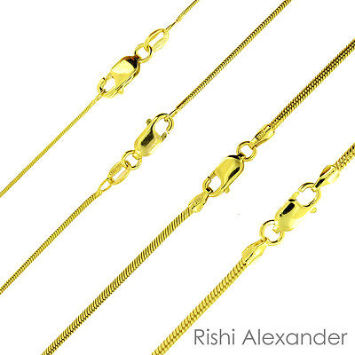14K Gold over 925 Sterling Silver Snake Chain Necklace All Sizes