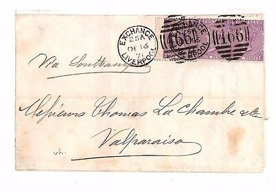 AP1871.1 GB Liverpool Exchange Mail 1s/6d Rate Franking/CHILE Valparaiso Panama
