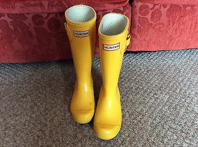 Great Childs Kids Hunter Yellow Wellington Welly Wellie Boots Size 13