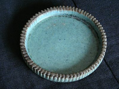 Arne Bang low cog dish, blue-green glaze, Danish studio ceramic