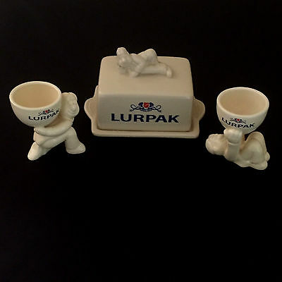 Collectable Retro Lurpack Ceramic Butter Dish With Douglas On The Lid & Egg Cups