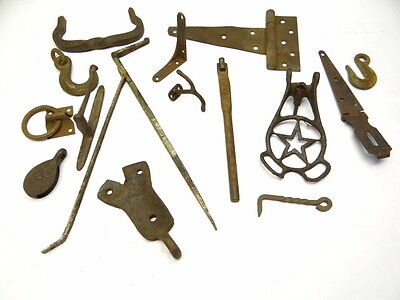 Antique Vintage Lot Metal Wrought Cast Iron Forged Pulleys Hooks Hinges Hardware