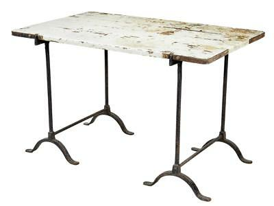 Early 20Th Century Pine And Iron Trestle Work Table