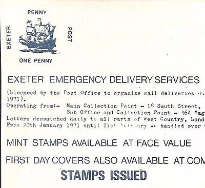 AP1971.30 GB STRIKE POST Exeter Emergency Delivery Service Devon/Post Notice