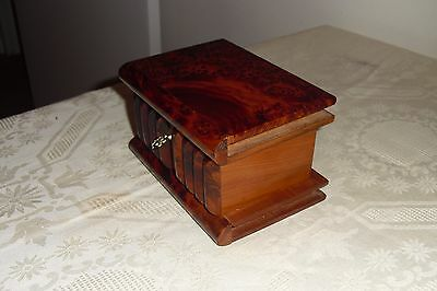 Modern Walnut Burl Wooden Majic Box With Secret Compartment - Bible-Shaped