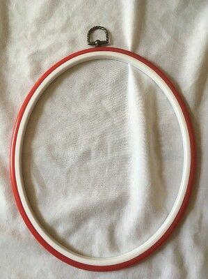 20 x 20.5 cm RED Flexi Hoop Cross Stitch Embroidery Oval Frame NEW
