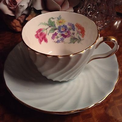 Pretty Aynsley Small Tea Cup & Saucer Demitasse Light Blue Floral