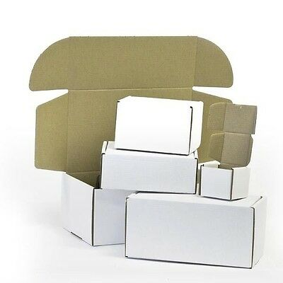"""White Die Cut Folding Lid Eco Packing Cardboard PIP Boxes Small Parcel 4x3x2"""" CS"""