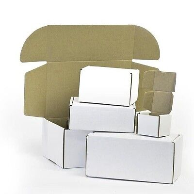 White Die Cut Folding Lid Packing Cardboard PIP Boxes Small Parcel 8x6x4 CS
