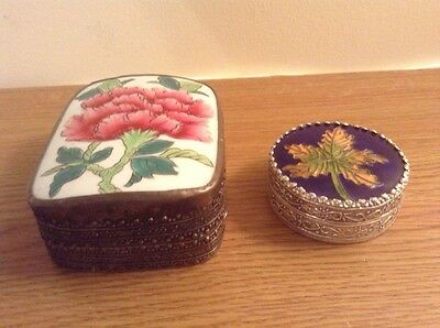 2 Nicely Chased Metal Trinket Box with enamelled top.
