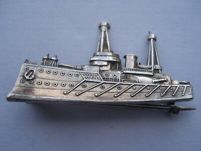 1914 Charles Horner Made Silver Dreadnought Shape Battleship Pin Brooch