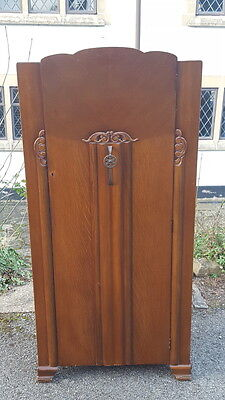Lovely Vintage 1950's Art Deco Revival Gentlemans/Small Wardrobe Fitted Shelves