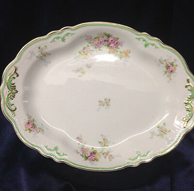 "Grindley Corinth Oval Serving Platter 12"" Green Gold Scrolls Roses Yellow Floral"