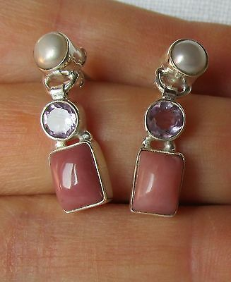 925 Sterling Silber Ohrstecker pink Opal + SWP + Amethyst