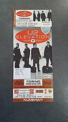U2 Ticket Mint - Not Used - Elevation Tour - Italy Turin 21 July 2001