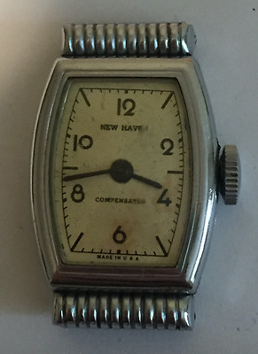Vintage New Haven Compensated Men's Watch Art Deco Fancy Lugs Silver USA Parts