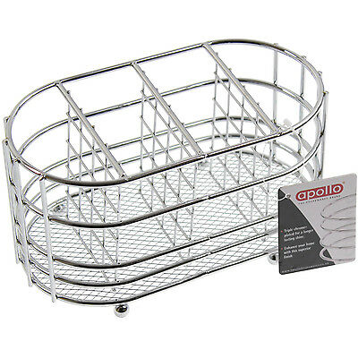 4 Compartment Chrome Oval Kitchen Cutlery Caddy Drainer Holder Stand Organiser