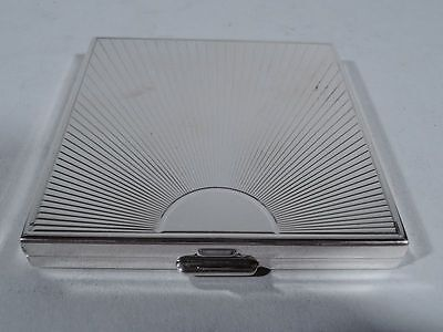 Tiffany Compact - Art Deco Sunrise - Antique Vanity - American Sterling Silver