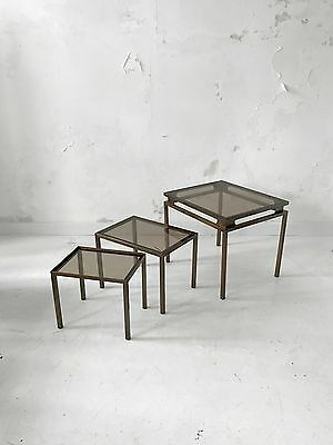 1970 Jansen Guy Lefebvre 3 Tables Gigogne Moderniste Bauhaus Shabby-Chic