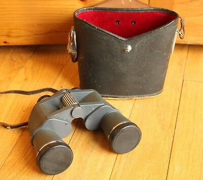 Vintage Tower 8 x 40 Gray Binoculars w/ Leather Carrying Case