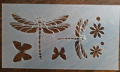 Dragonfly Butterfly Flower Mylar Airbrush Art Craft Crafting Wall Stencil