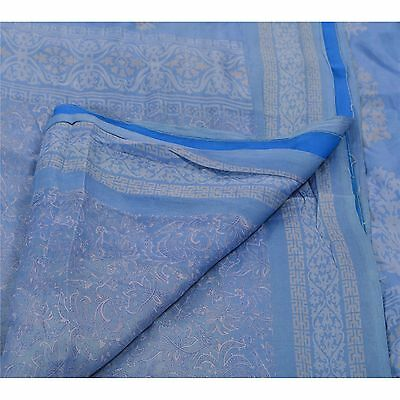 Sanskriti Vintage 100% Pure Silk Saree Blue Printed Sari Craft 5 Yard Fabric