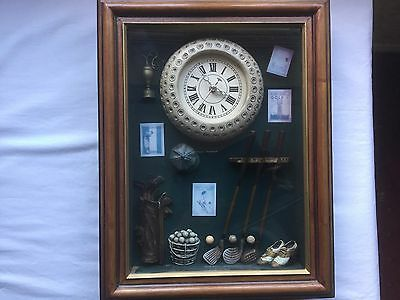 Golf cabinet wall clock in good working order. Ideal for home or club.