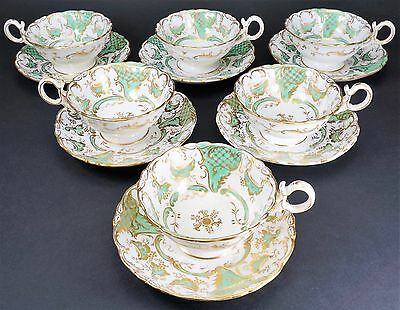 Set of Six Coalport Adelaide Shaped Green and Gold Cups Cup and Saucers Saucer
