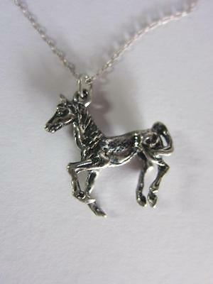 STERLING SILVER Stalion Horse Necklace w/ PENDANT