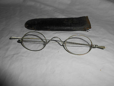 Antique wire bifocal eyeglasses w/ leather case
