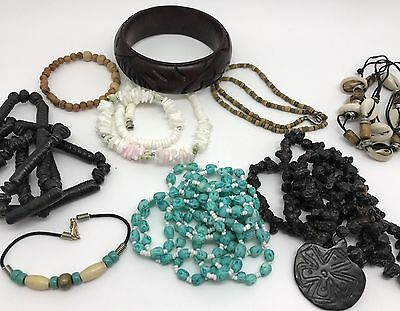 Lot of Hawaiian Tribal Jewelry; Beach Shell, Lava Rock Beads, Surfer Boho (RF641