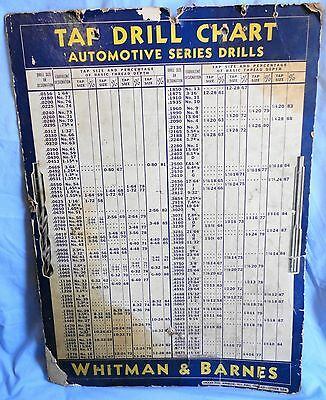 Whitman & Barnes Automotive Chart Tap Drill Chart Vintage 1951