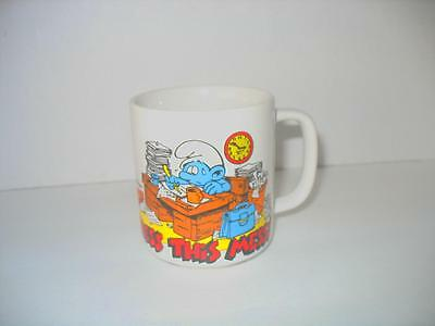 Vintage Smurfs Bless this Mess Coffee Cup Mug Wallace Berrie 1981